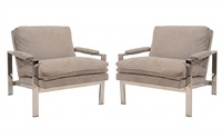 pair of milo baughman lounge chairs by milo baughman