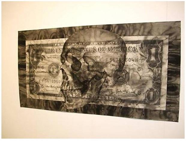 dollar schädel / dollar skull by yan pei ming
