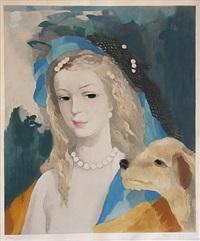 jeune fille avec chien by marie laurencin