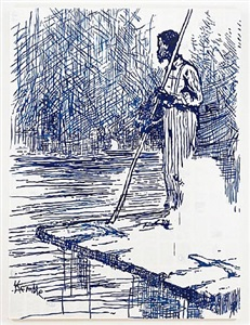 adventures of huckleberry finn - on the raft (after mark twain), by tim rollins and k.o.s.