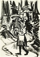 peasant and girl on a forest path by ernst ludwig kirchner
