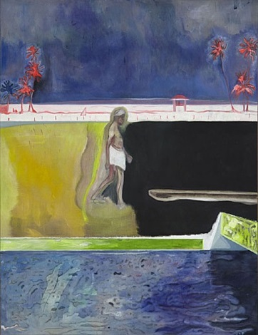 walking figure by pool by peter doig