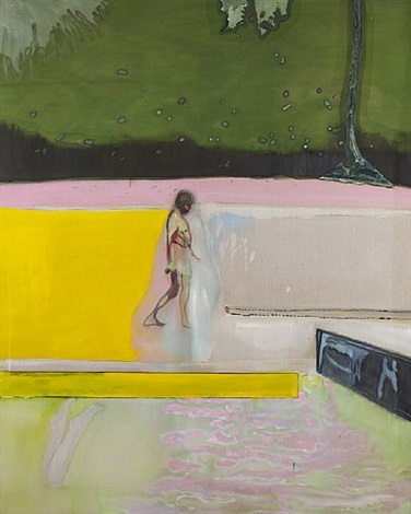 figure by a pool by peter doig