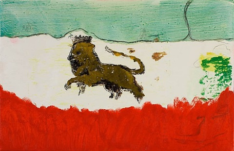 lion in sand by peter doig