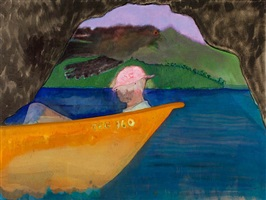 cave boat bird painting by peter doig