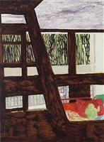briey interior 2 (study for concrete cabin) by peter doig