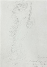 female nude with arms raised posed on a pedestal (femme nue aux bras leves posant sur un socle) by auguste rodin