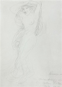 female nude with arms raised posed on a pedestal (femme nue aux bras leves posant sur un socle) by auguste rodin