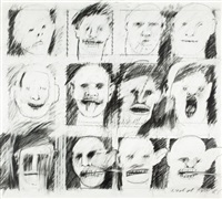 pencil heads/pencil cast (from the audience series) by peter greenaway
