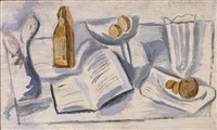 (still life with) book, compote and glass by stuart davis
