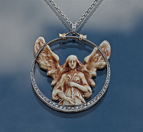 art nouveau angel pendant