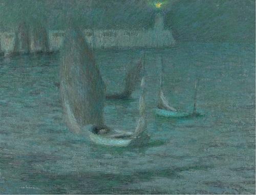 les barques au clair de lune, tréport by henri le sidaner