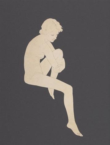 seated nude preliminary edison mazda lamps calendar by maxfield parrish