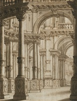 interior of a palace by giuseppe galli bibiena