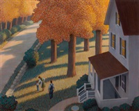 house and family in the autumn, story illustration by chris van allsburg