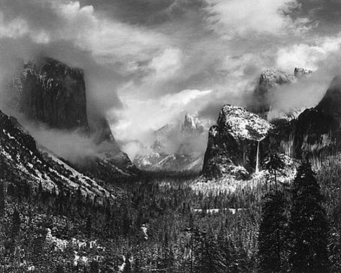 clearing winter strom, yosemite valley, ca by ansel adams