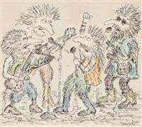 band of four on stage, original tv guide cartoon illustration by edward koren