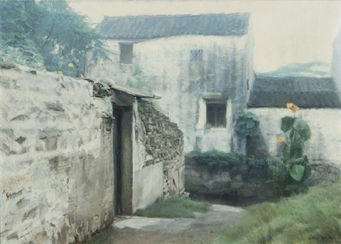 courtyard entrance, suzhou, china by chen yifei