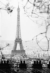 eiffel tower through trees with rooftops by paul hagedorn