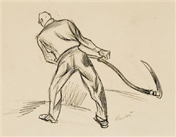 back view, man with scythe by thomas hart benton