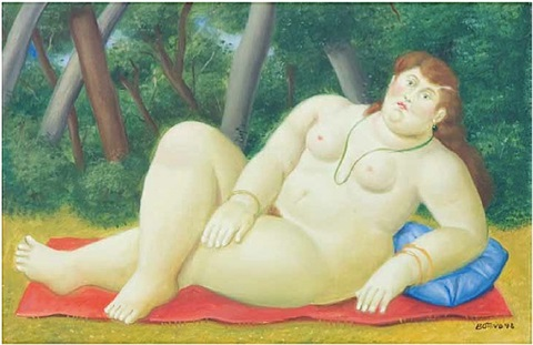 reclining woman by fernando botero