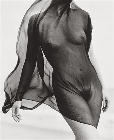 female torso with veil, paradise cove by herb ritts