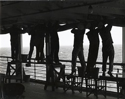 sailors painting a ship by man ray