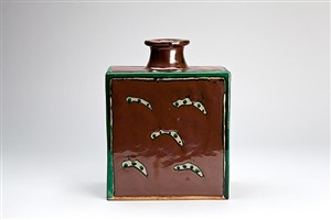 bottle, kaki glaze with wax resist decoration by shinsaku hamada