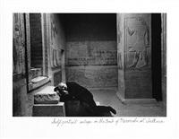 self-portrait asleep in the tomb of mereruka at sakkara by duane michals