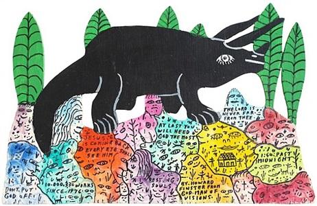 black triceratops (tricerytops sp?) by howard finster