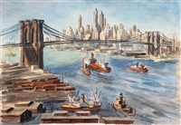 brooklyn bridge and lower manhattan 1 by reginald marsh