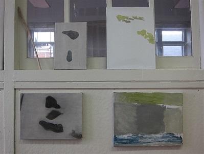 paintings in tim schwartz and ian white williams studio in philadelphia, pa