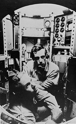lieutenant don walsh, usn, and jacques piccard in the bathyscaphe trieste