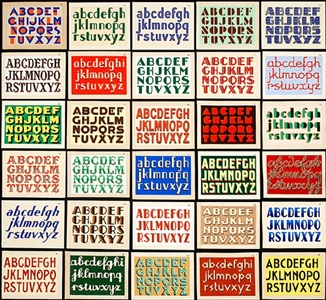 collection of original hand lettered sign painter's samples by unknown