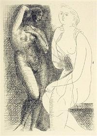 femme nue devant une statue by pablo picasso
