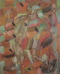 three figures by lee mullican