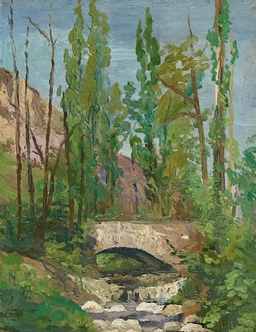 landscape with poplars by richard edward miller