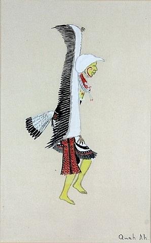 eagle dancer painted yellow wearing an orange sash by tonita pena