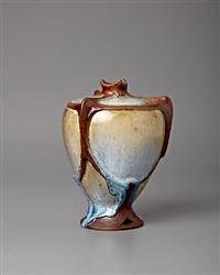 faux bronze mount vase by raoul lachenal