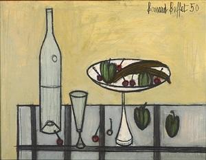 cerises, bananes et prunes dans une coupe, bouteille et verre by bernard buffet