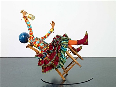 champagne kid (leaning) by yinka shonibare mbe