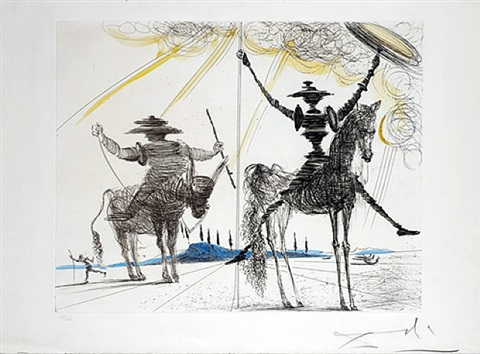 don quichotte et sancho pança by salvador dalí