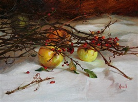yellow apples and berries by carol arnold