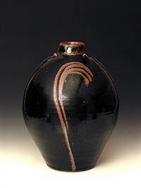 jar, tenmoku glaze with finger wiped decoration by phil rogers