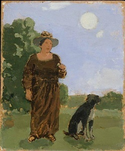 woman and dog in moonlit landscape—not for sale by albert york