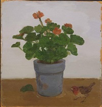 geranium in blue pot with fallen leaf and bird—not for sale by albert york