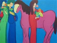 pink horse three geishas by walasse ting