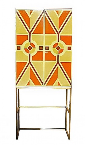 a custom hand-painted bar cabinet by tommi parzinger