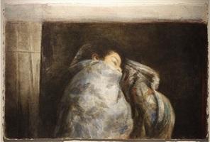 woman in blanket by sidney goodman