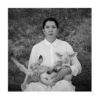 portrait with white lamb by marina abramović